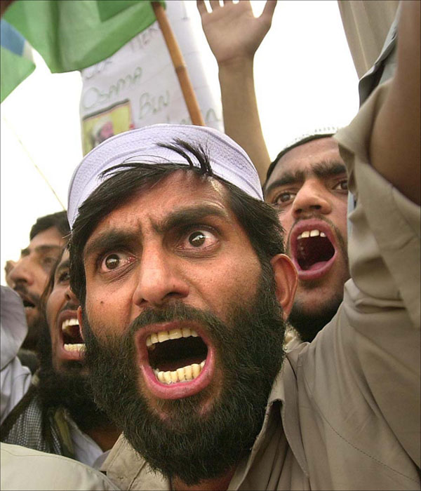 Pakistan:  An estimated 20,000 protesters jammed the streets in Rawalpindi, Pakistan  where pro-Taliban supporters voice their opposition to the U.S. bombing in Afghanistan.