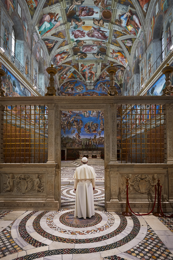 Pope Francis makes a spontaneous, unscheduled visit to the Sistine Chapel after his {quote}Urbi et Orbi{quote} address on Christmas Day.