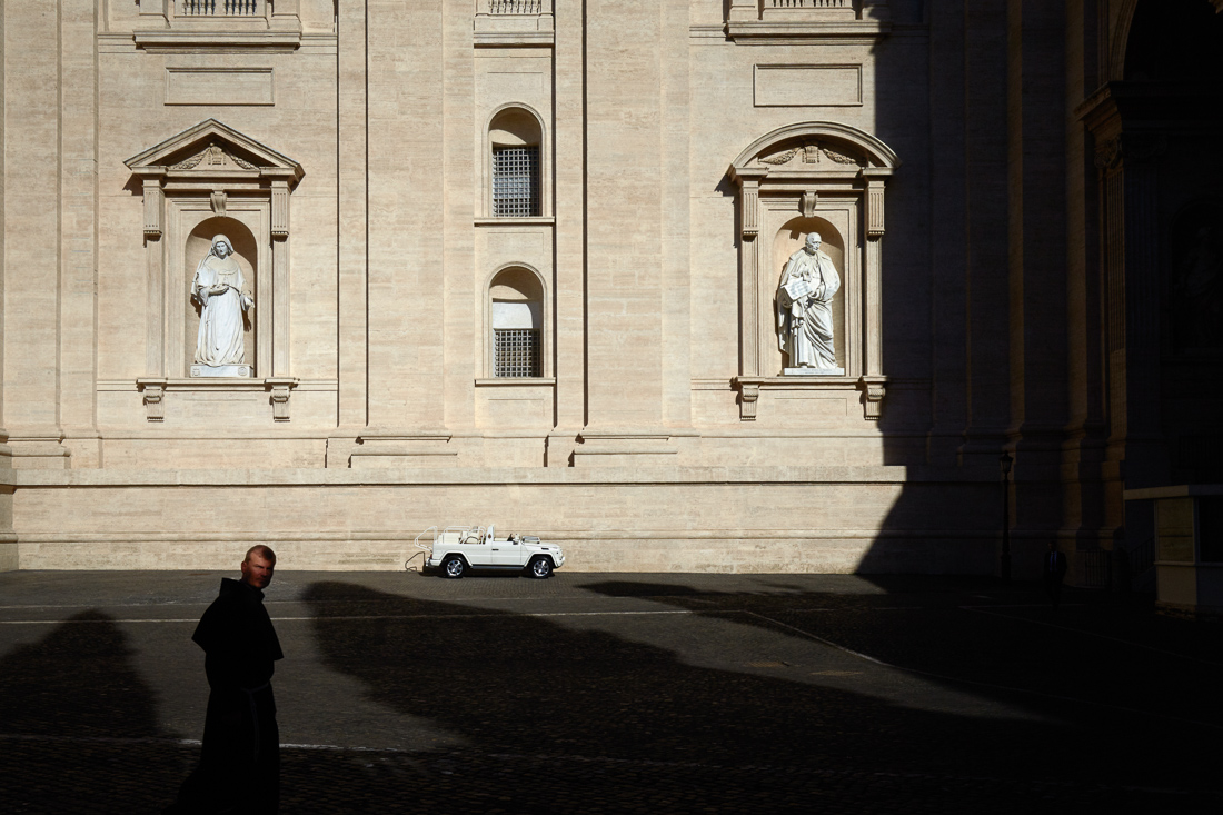The Pope Mobile is kept warm in the sun while Pope Francis attends a general audience in Vatican City.