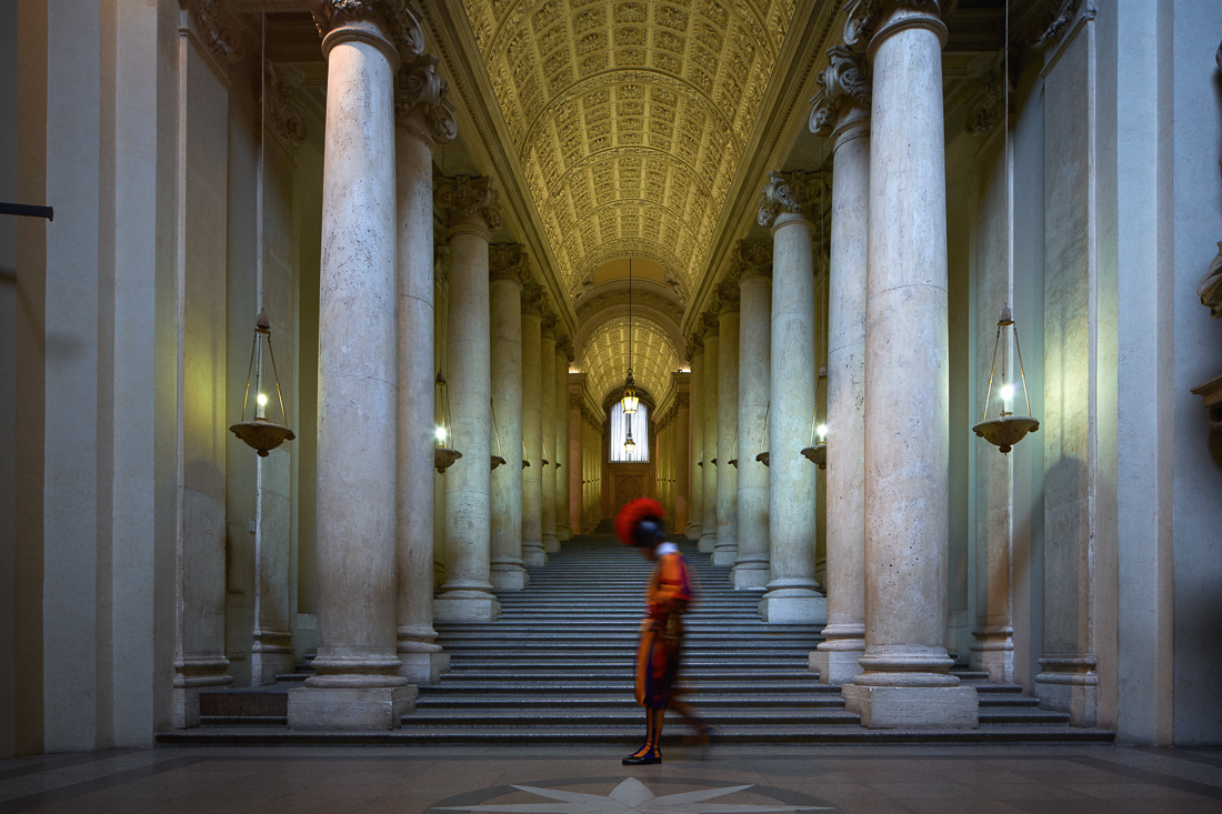 Scala Reggia in the Apostolic Palace. Now that the pope no longer lives in the palace, there is much less pedestrian traffic in the corridors.