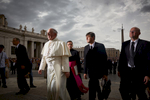 Pope Francis attends a general audience in St. Peter's Square