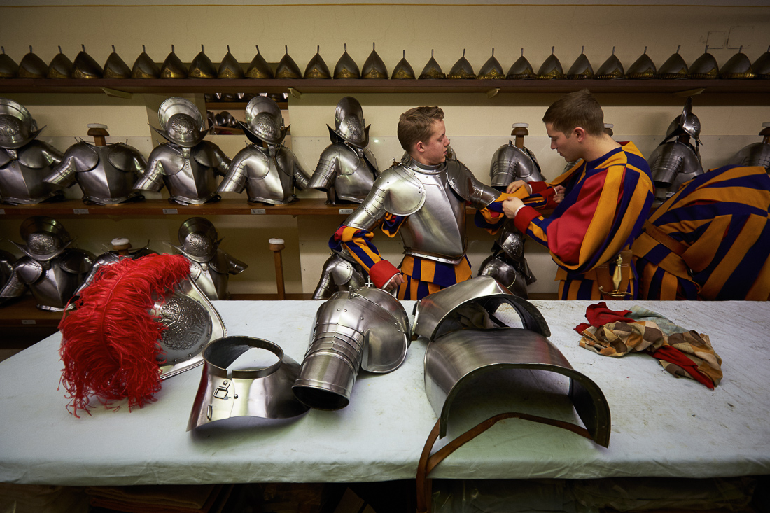 Members of the Swiss Guard in the armory put on their armor before Pope Francis'  {quote}Urbi et Orbi{quote} address on Christmas Day.