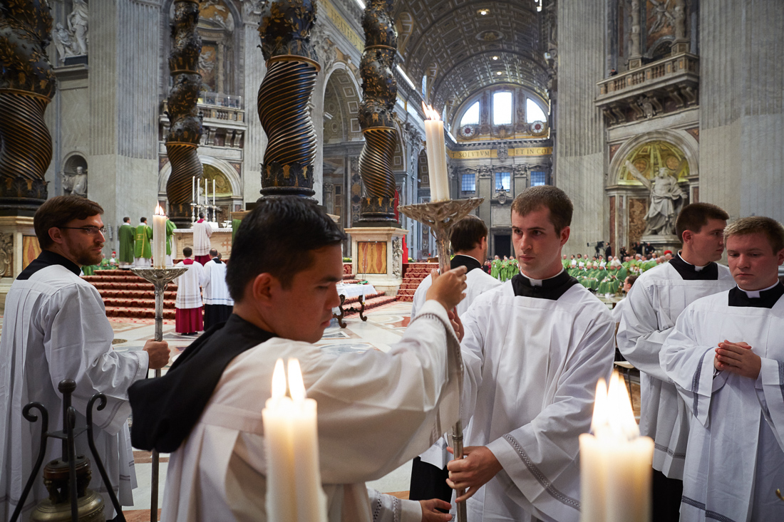 A  Holy Mass is conducted in St. Peter's Basilica.