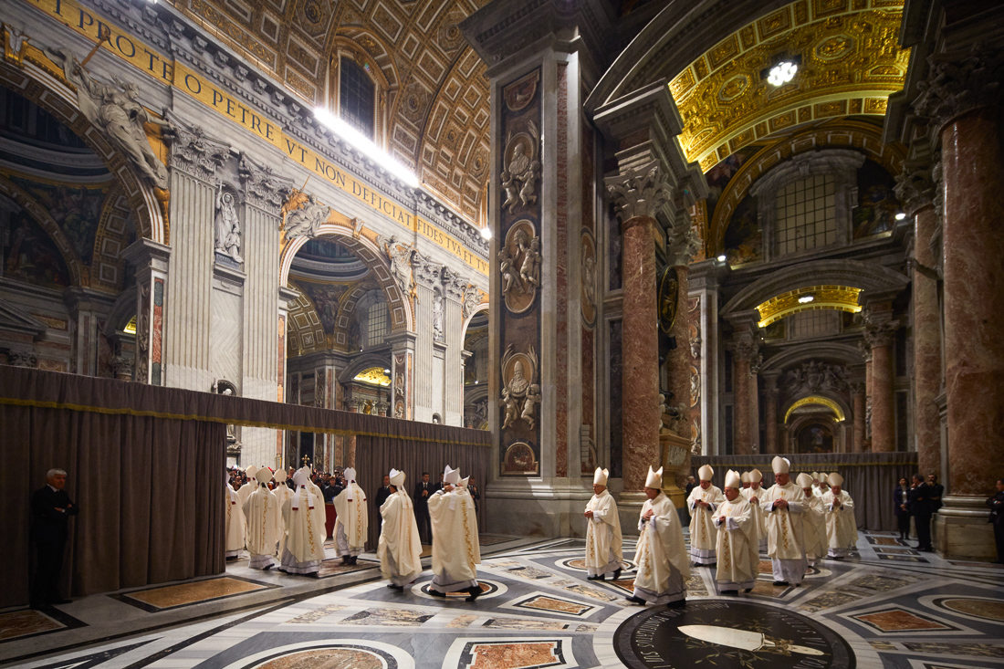 A section of St. Peter's Basilica is reserved for cardinals and bishops to prepare for mass that is led by Pope Francis.