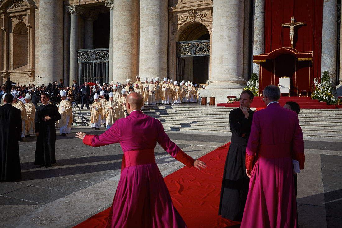 Pope Francis attends a holy mass celebrating the conclusion of the Extraordinary Synod on the family and the beatification of Pope Paul VI.