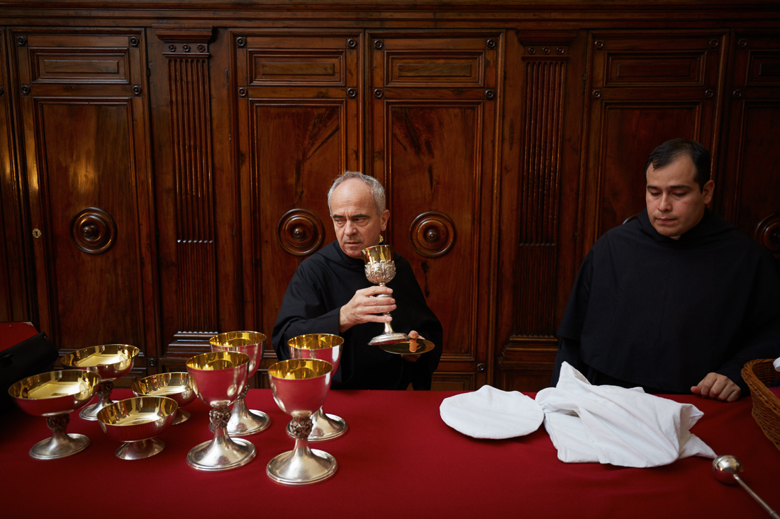 Items are prepared for a holy mass in the Papal Sacristy in Vatican City, next to the Sistine Chapel.