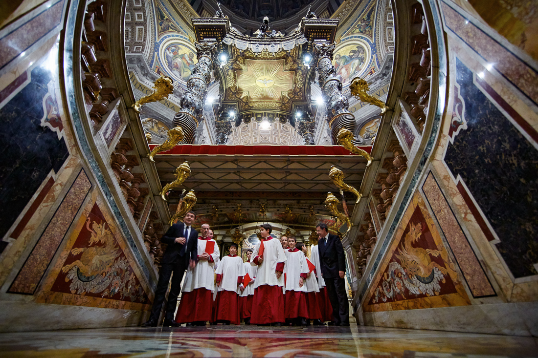 Boys from the Sistine Chapel Choir visit the tome of St. Peter in St. Peter's Basilica in Vatican City. The boys had been singing during a special service in the crypt held by Pope Francis the day after All Saint's Day.
