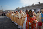 Pope Francis attends an outdoor mass and beatification in St. Peter's Square in Vatican City.