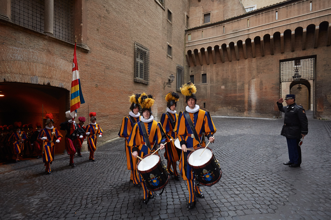 The Swiss Guard march through Vatican City for a mass and a ceremony marking the change of their commander, Daniel Anrig, who was appointed commander by Pope Benedict and was removed by Pope Francis.