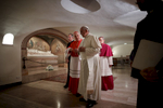 Pope Francis visits St. Peter's Tomb and the crypt beneath the altar of St. Peter's Basilica, which holds the tombs of numerous popes as well, the day after All Saint's Day.