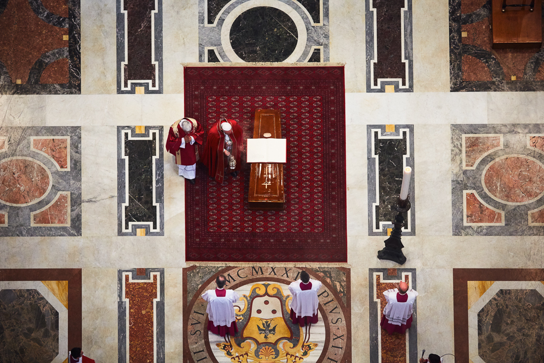 Pope Francis attends the Funeral of Cardinal Jorge Maria Mejia in St. Peter's Basilica.