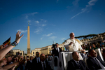 Pope Francis in the Popemobile in Vatican City during a general audience.