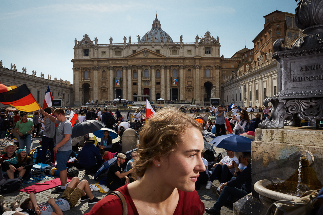 Pilgrims arrive early for the canonisation of Pope John Paul II and Pope John XXIII.