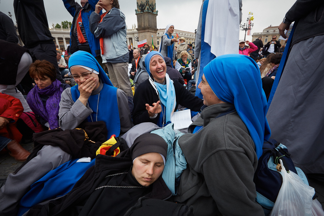Pilgrims spend all night waiting for the canonisation of Pope John Paul II and Pope John XXIII.