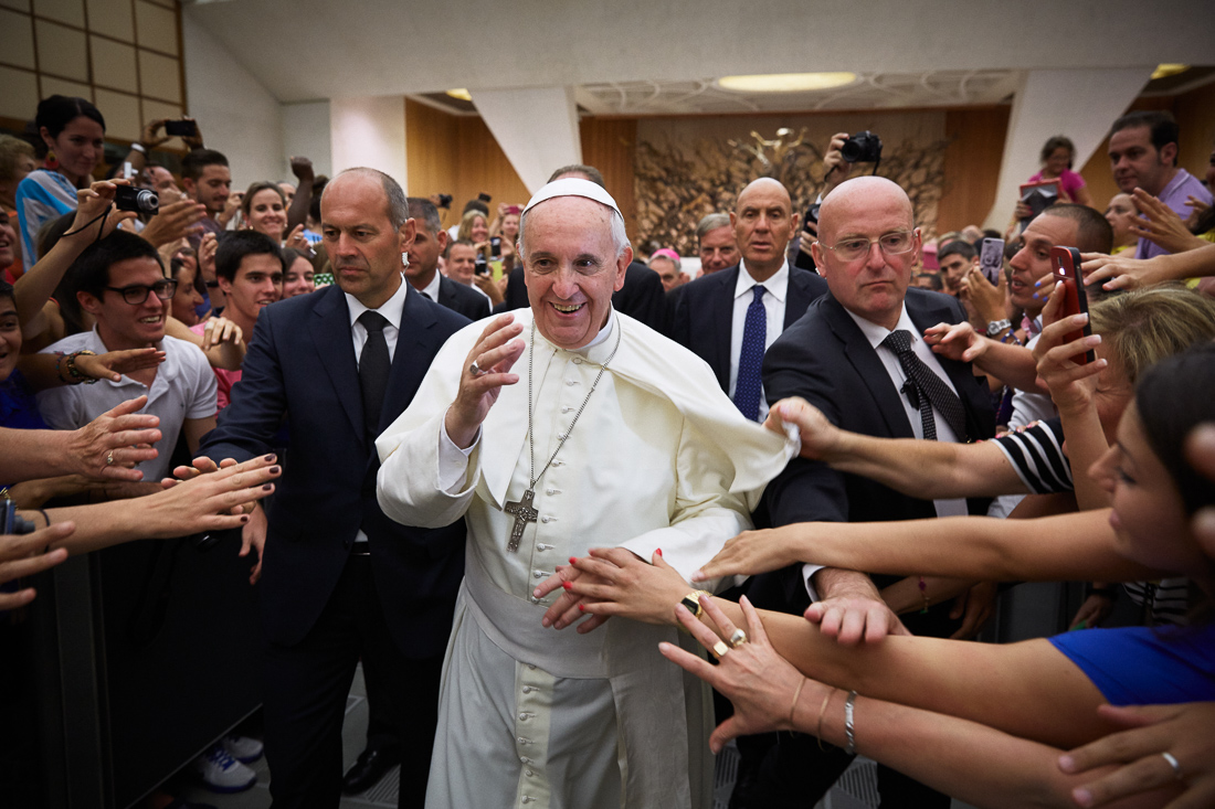 Pilgrims rejoice at meeting Pope Francis during a general audience in Vatican City.