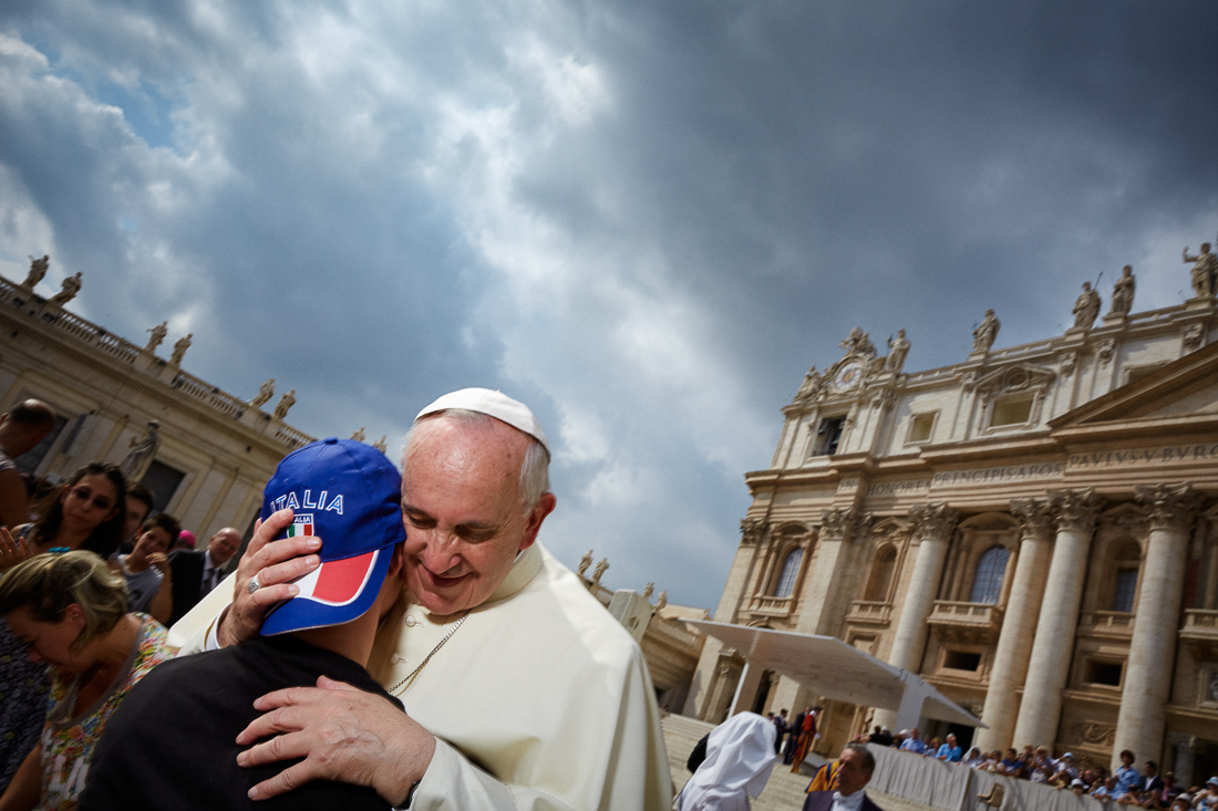 Pope Francis attends a general audience in Vatican City.