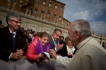 Pope Francis as he attends a general audience attended by pilgrims and tourists in Vatican City.
