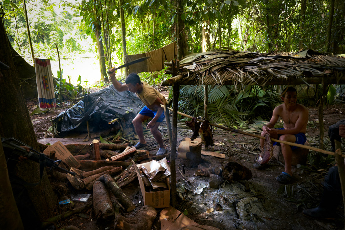 Honduran soldiers make camp in the Mosquitia jungle in Honduras.