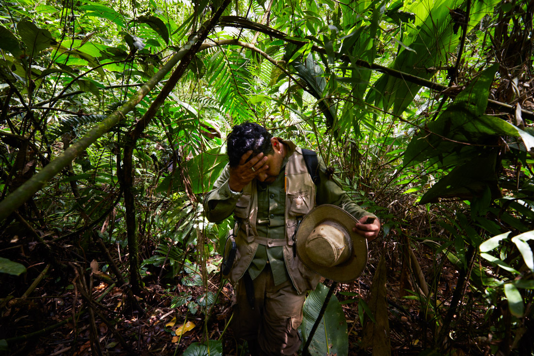 Honduran archeologist Oscar Neil Cruz, Jefe Unidad de Arqueologia del IHAH, explores jungle in a secret location in the Mosquitia jungle in Honduras that revealed evidence of an ancient culture that were once neighbors to the Maya.