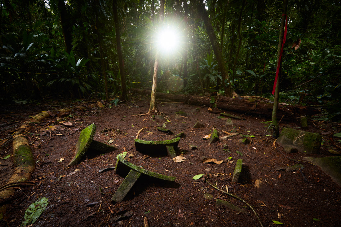 A cache of at least 51 objects, partially buried and left in situ at a secret location in the Mosquitia jungle.