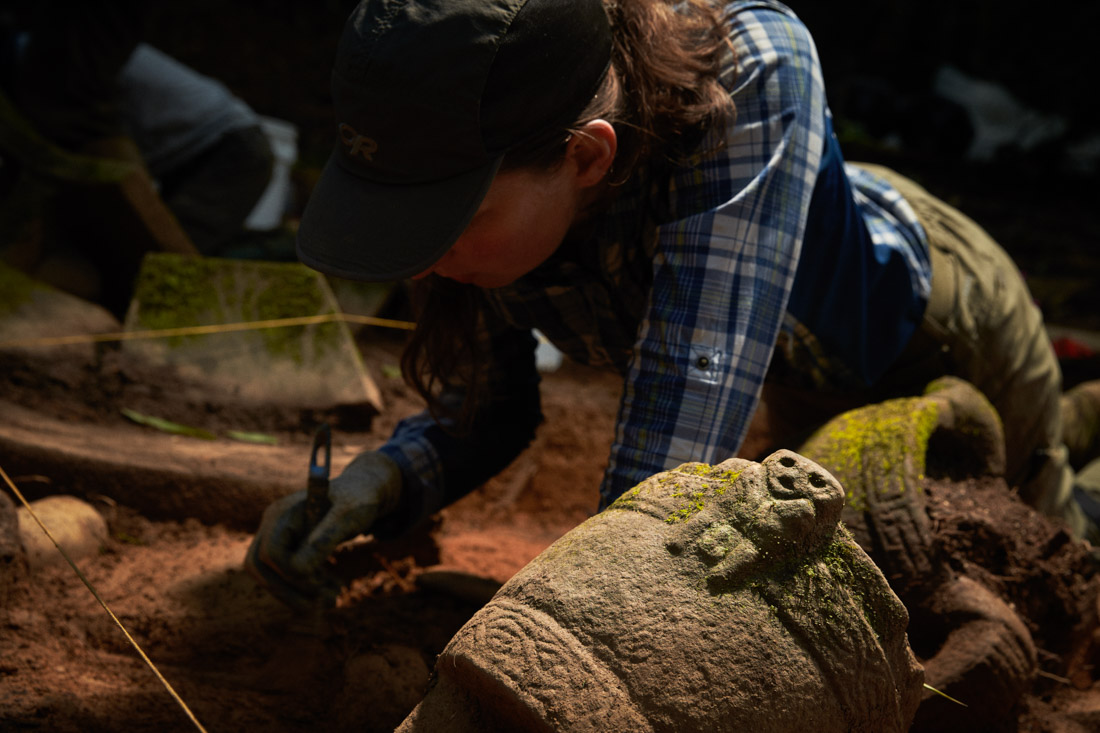 Archeologists dig in the cache site in the Mosquitia jungle in Honduras.