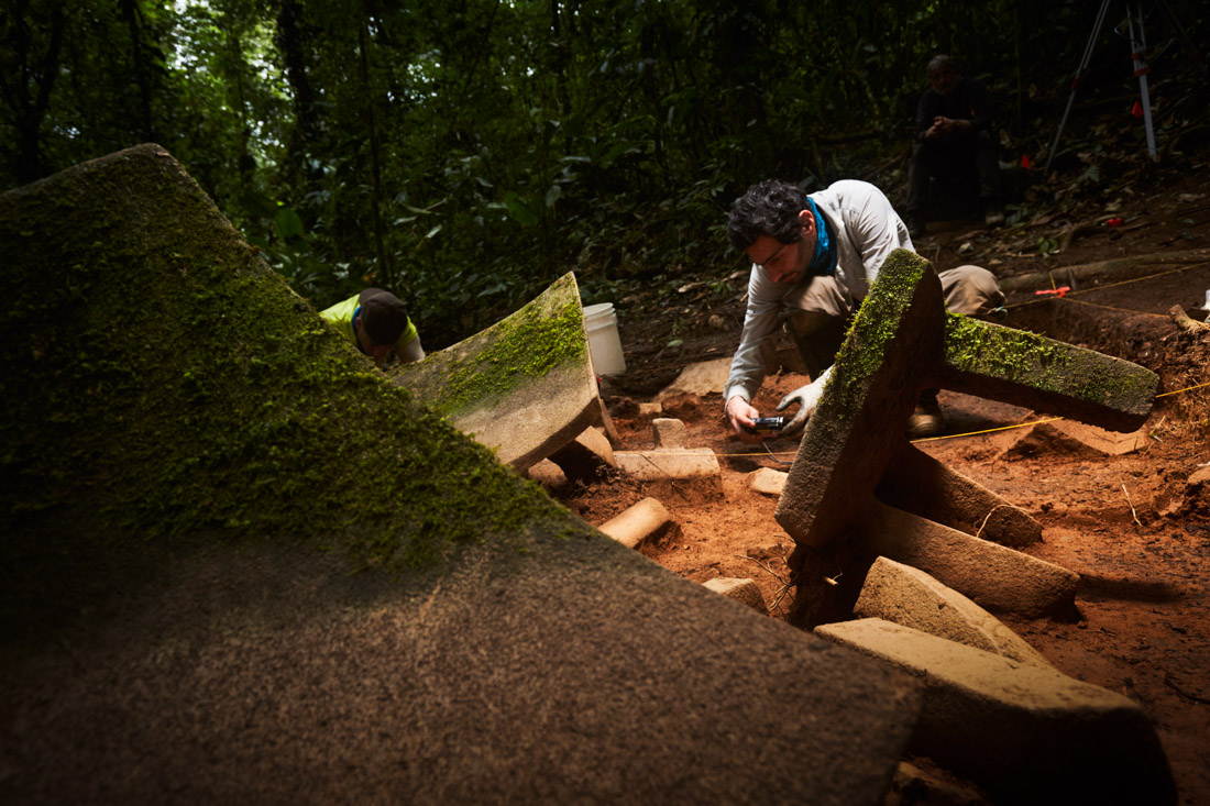 Archeologists begin removing artifacts from the cache site in the Mosquitia jungle in Honduras.