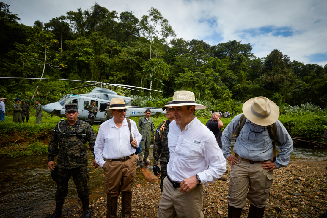 Honduras President Juan Orlando Hernández visits the archeological site being excavated in the Mosquitia jungle.
