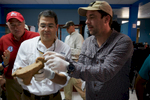 Honduras president Juan Orlando Hernández visits the lab at Aguacate military airfield to inspect artifacts recovered from the Mosquitia jungle.