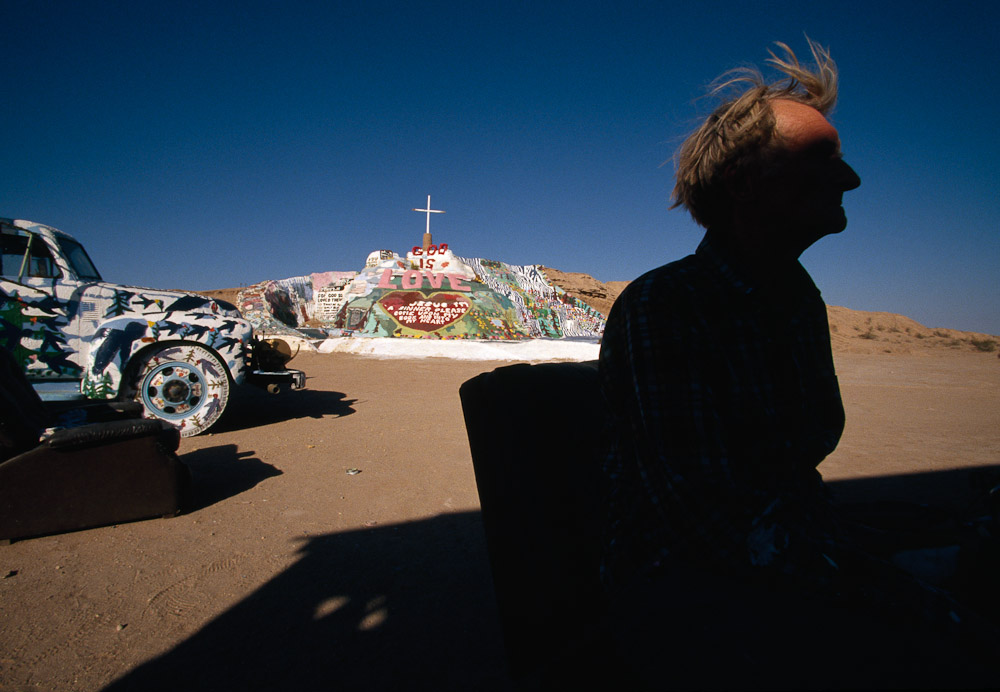 Leonardo Knight at his Salvation Mountain in the Mojave Desert