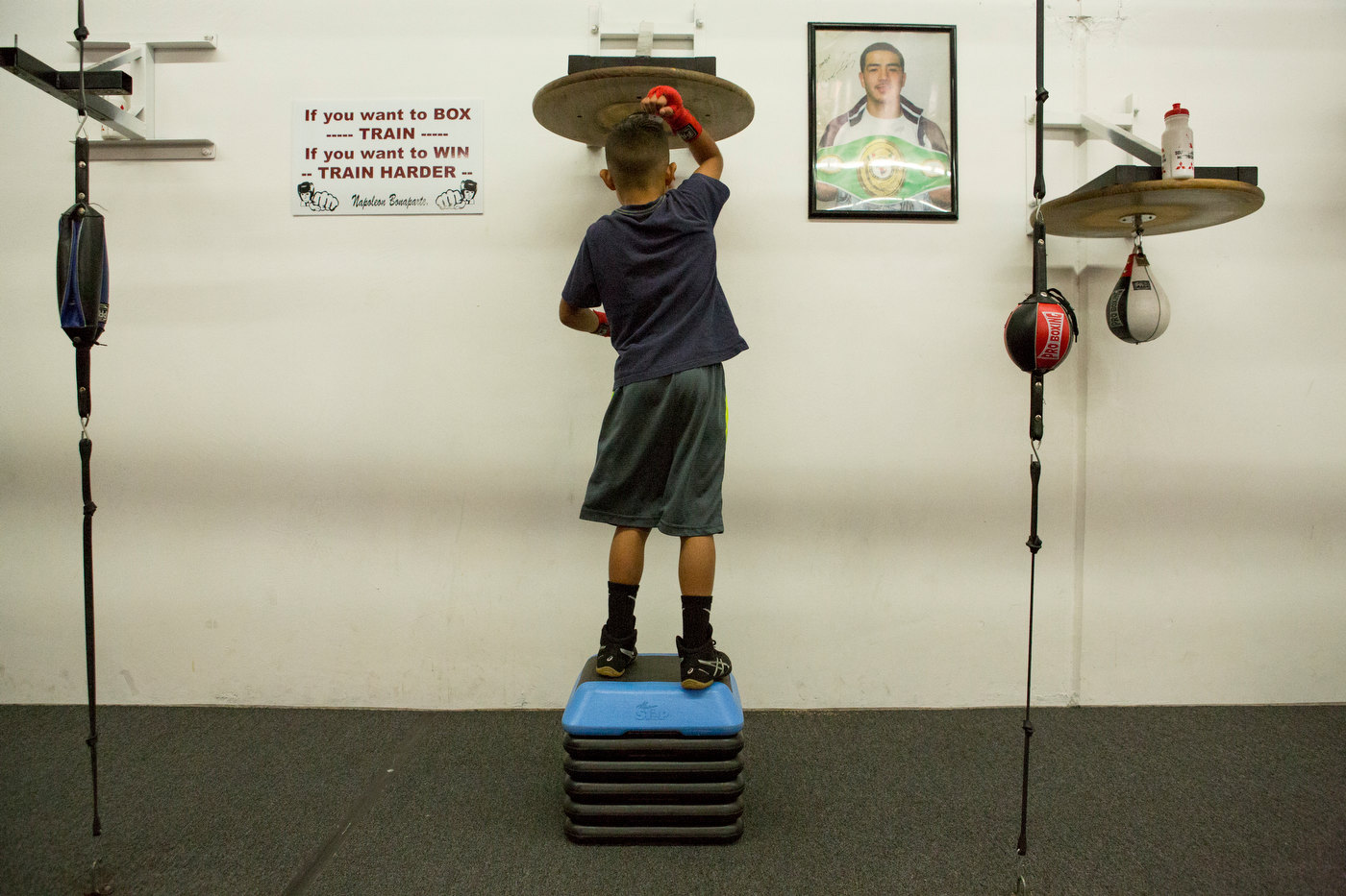 A young boxer trains at the Robert Garcia Boxing Academy in Oxnard, California.