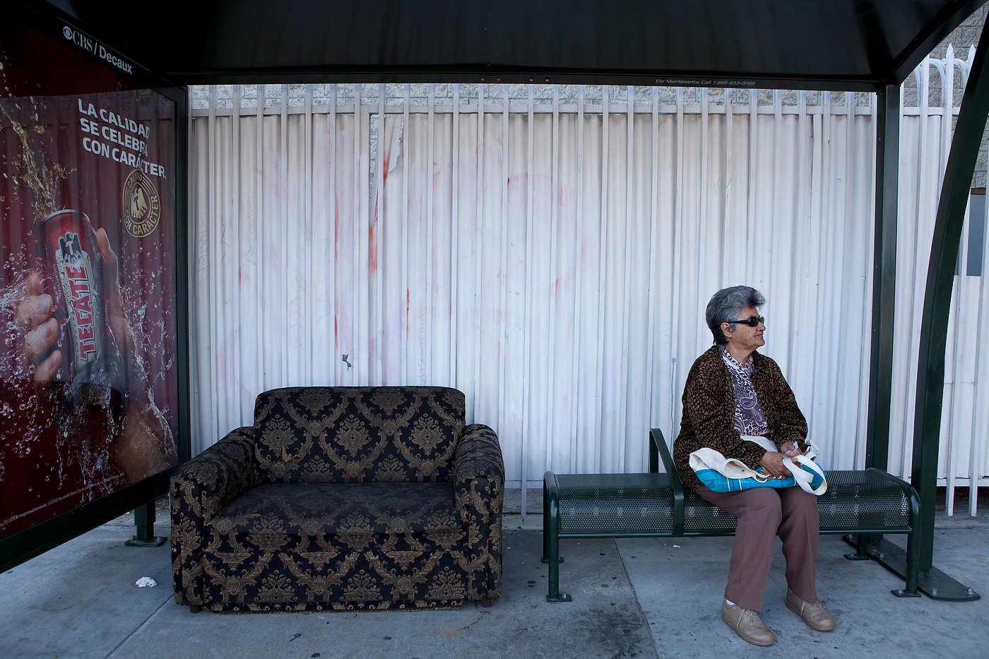 Bus stop, Cesar Chavez Ave., East LA, Line 68.