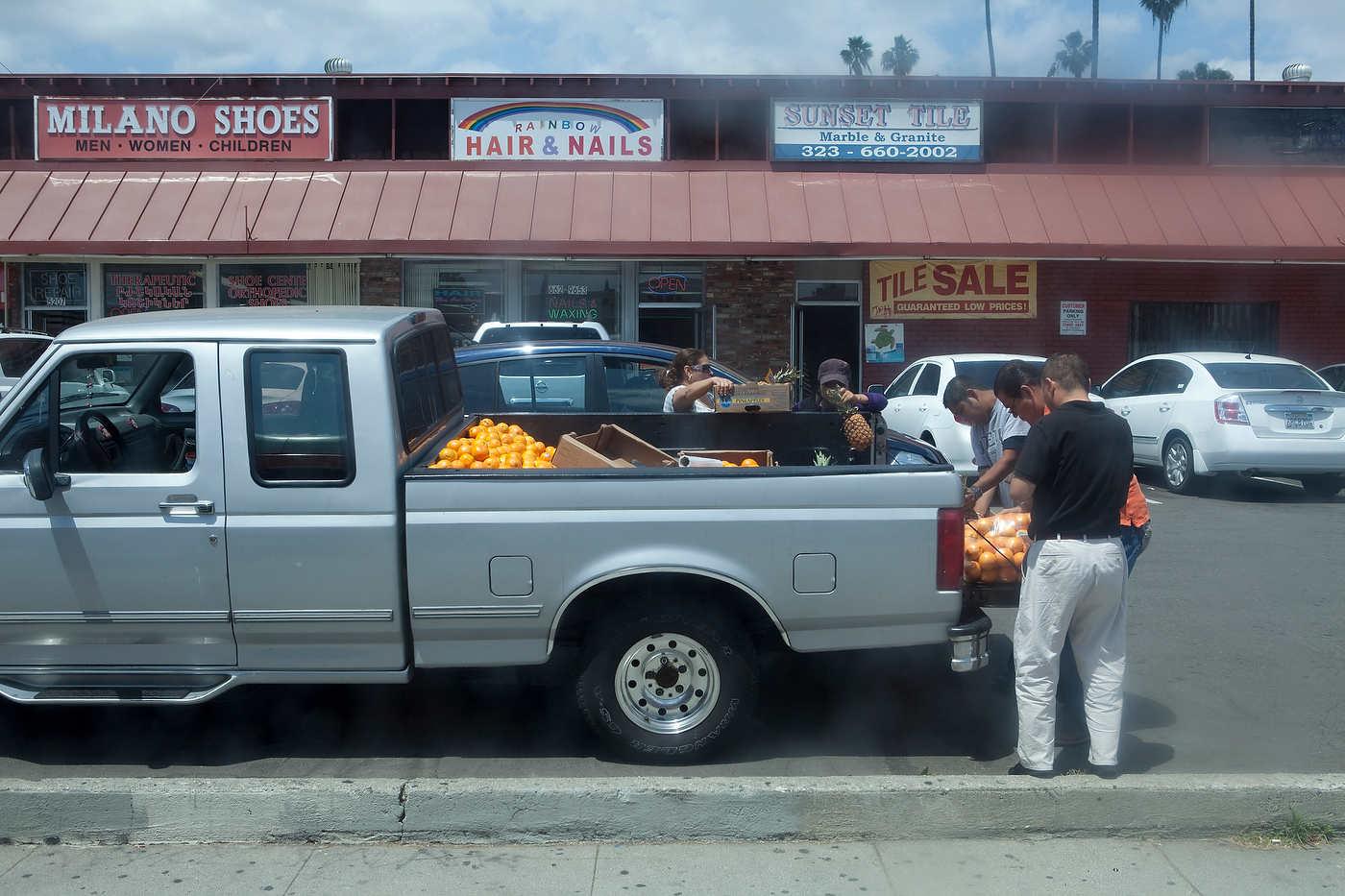 Fruit vendor, Sunset Boulevard, seen from bus 704.