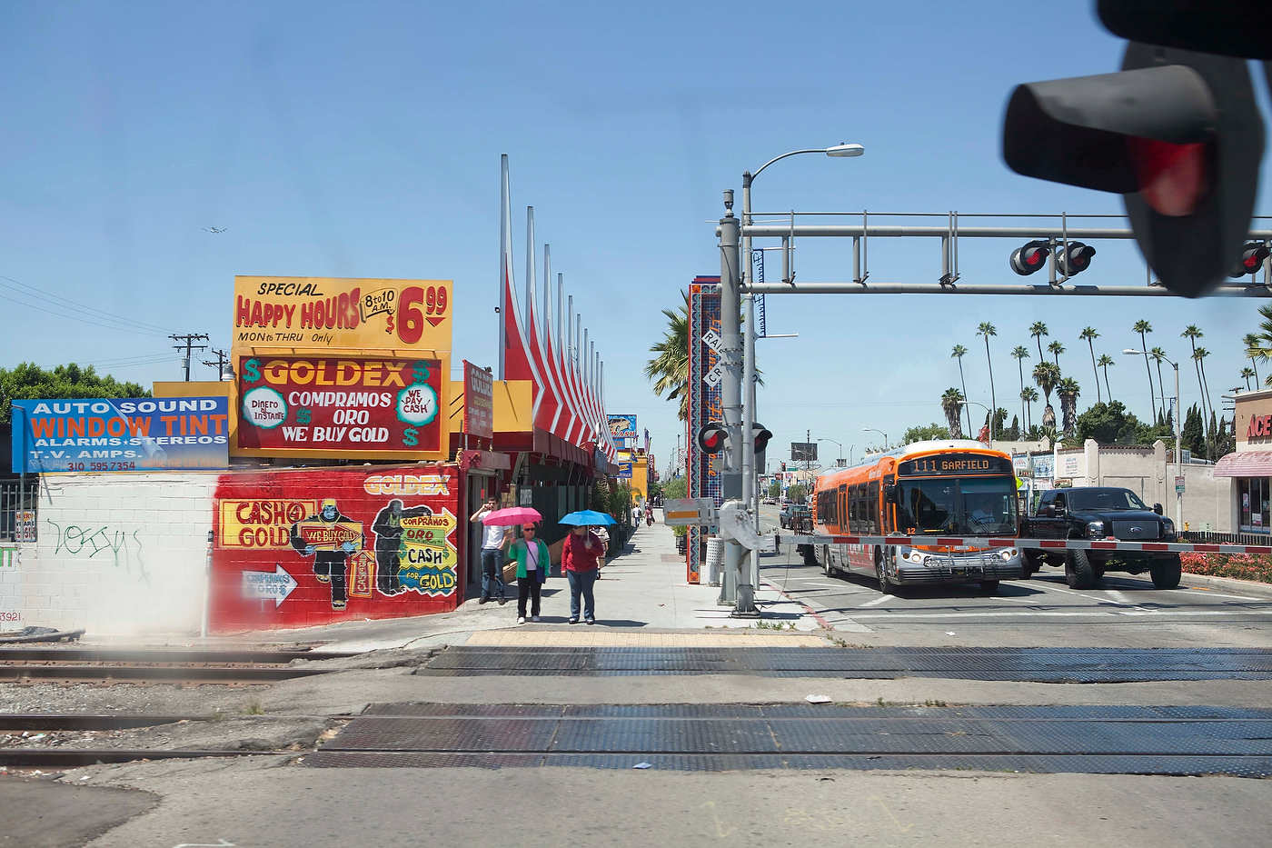 Metro Green Line, south of downtown Los Angeles, where historically Black neighborhoods are becoming Latino.