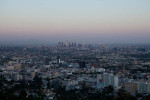 Los Angeles at dusk from Runyon Canyon, above Hollywood, Line 302.