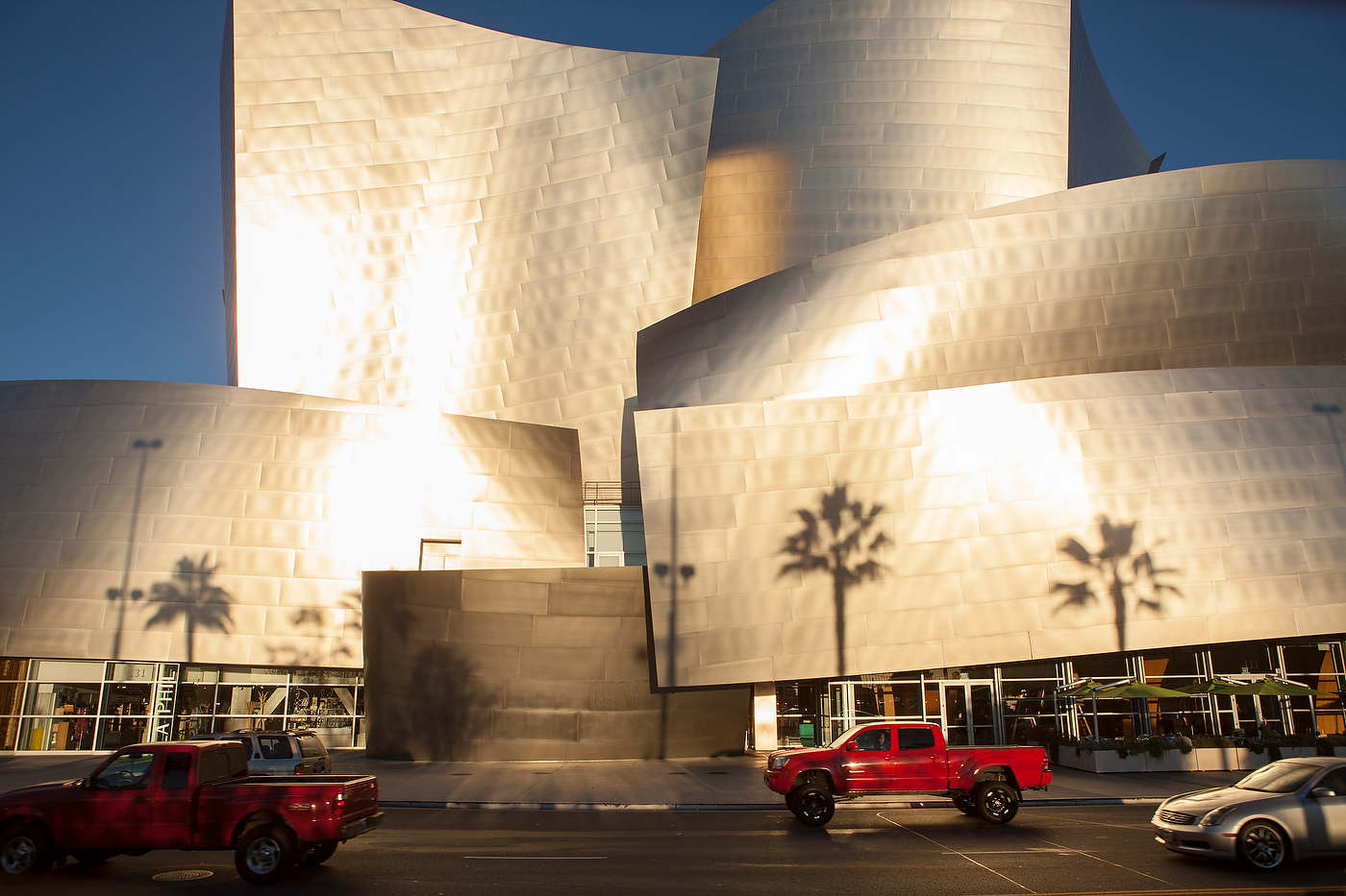 Frank Gehry's Walt Disney Concert Hall at sunrise, downtown LA.