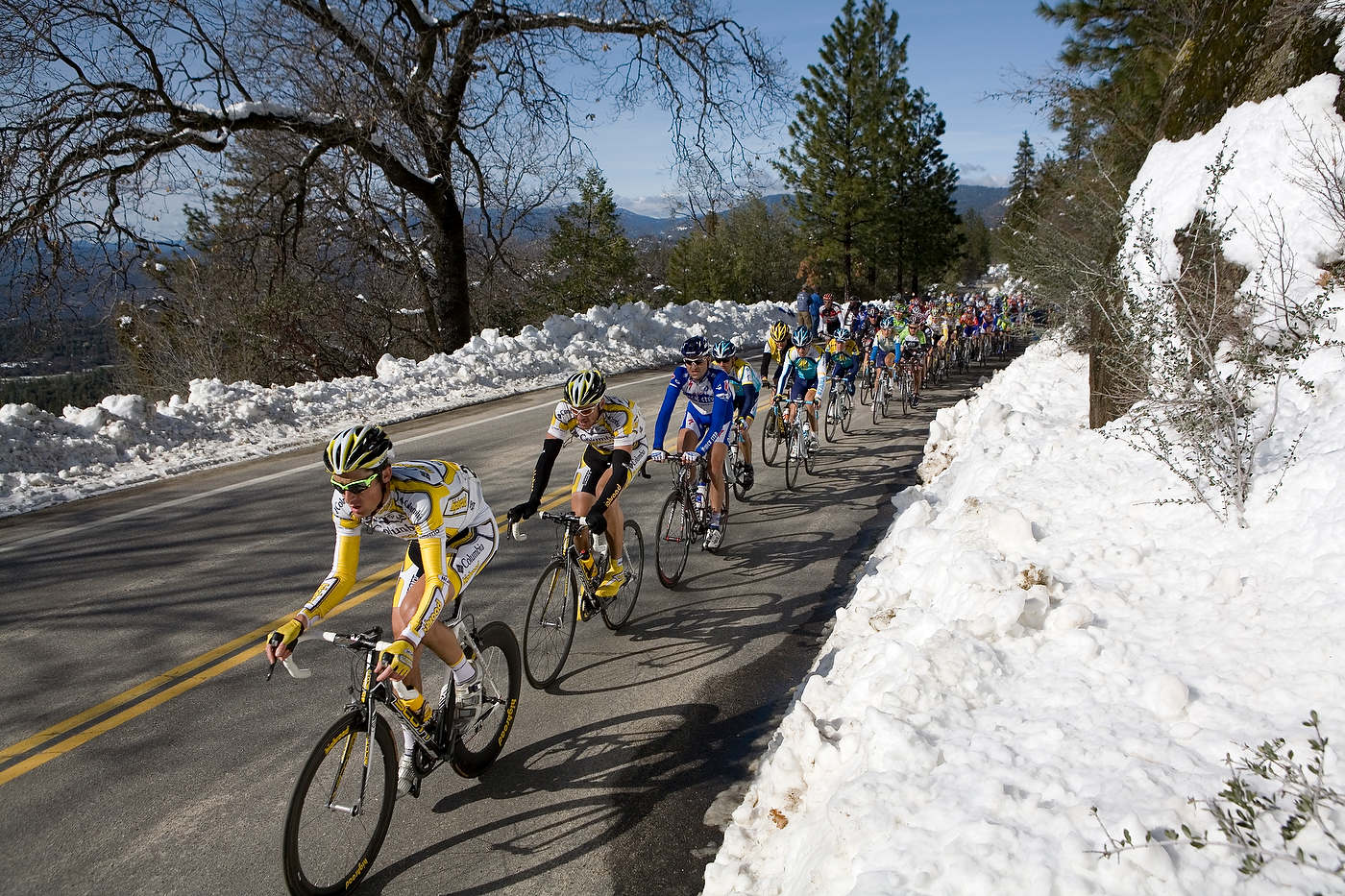 Tour of California bike race, Sierras Mountains.