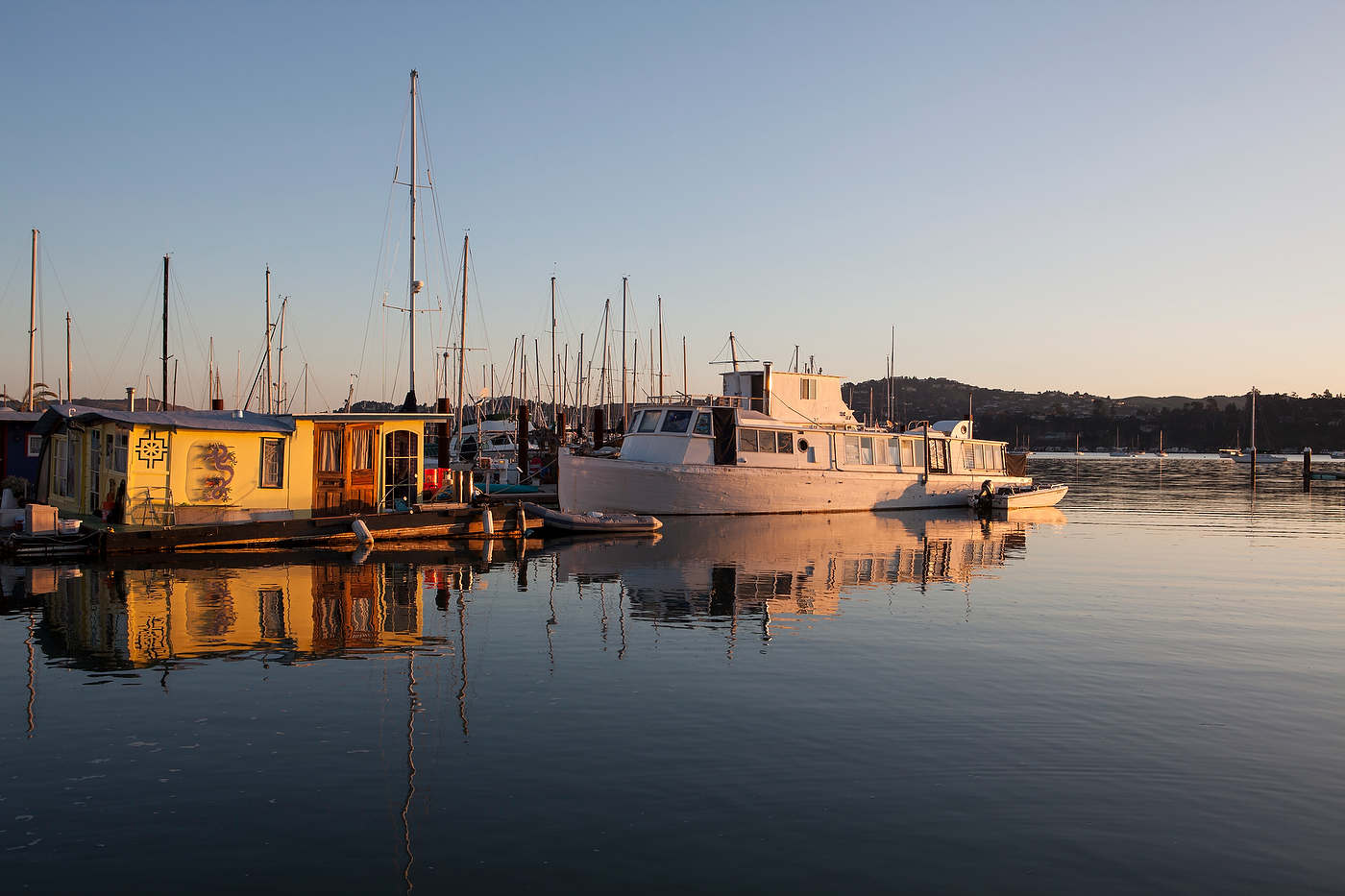 Houseboats at sunrise, Sausalito.