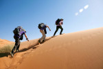 Team Gypsies leaves the water challenge in the Merzouga Dunes, Sahara Desert.