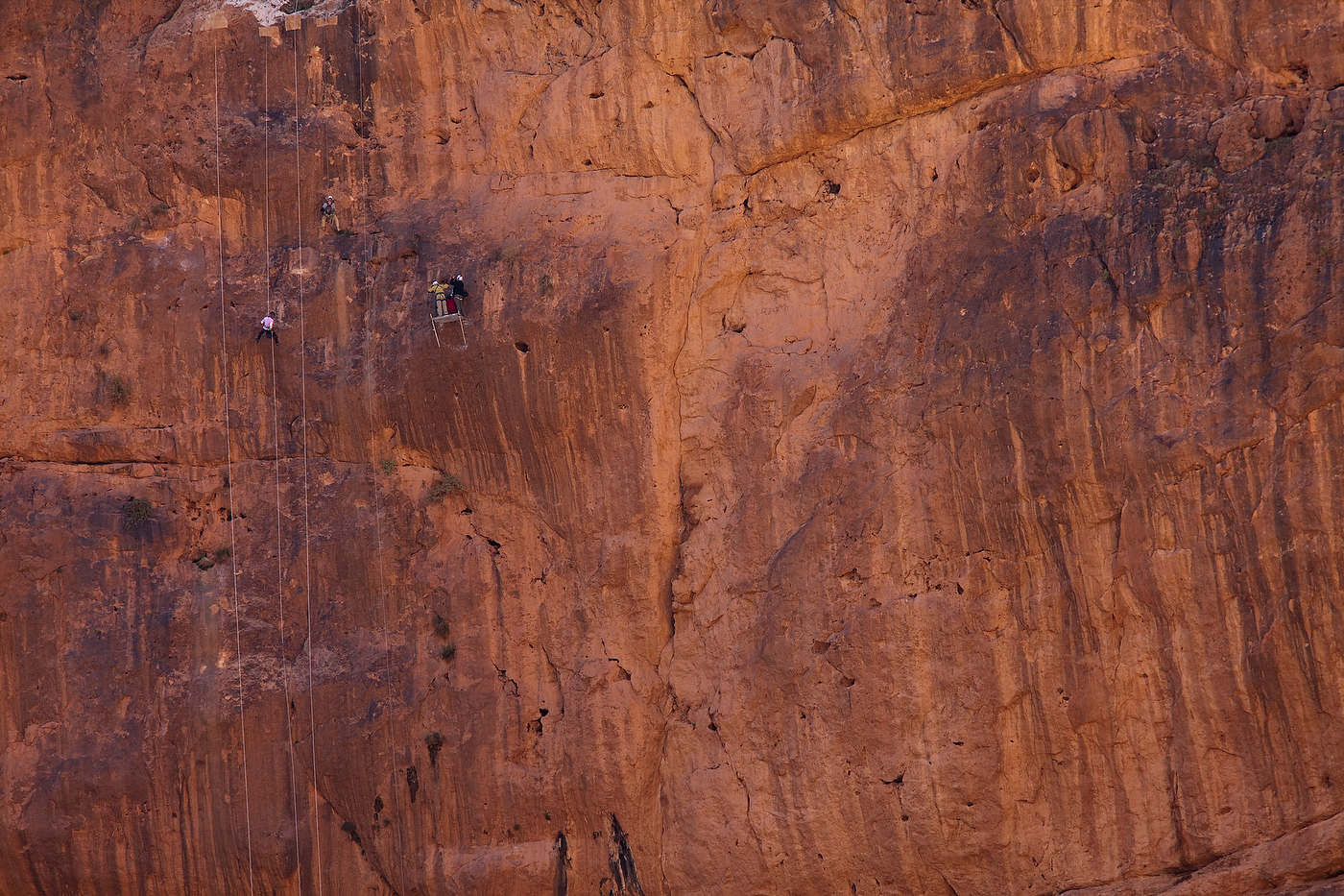 Gypsies' John Post rappels down a 300 feet cliff in the Dades Gorges.
