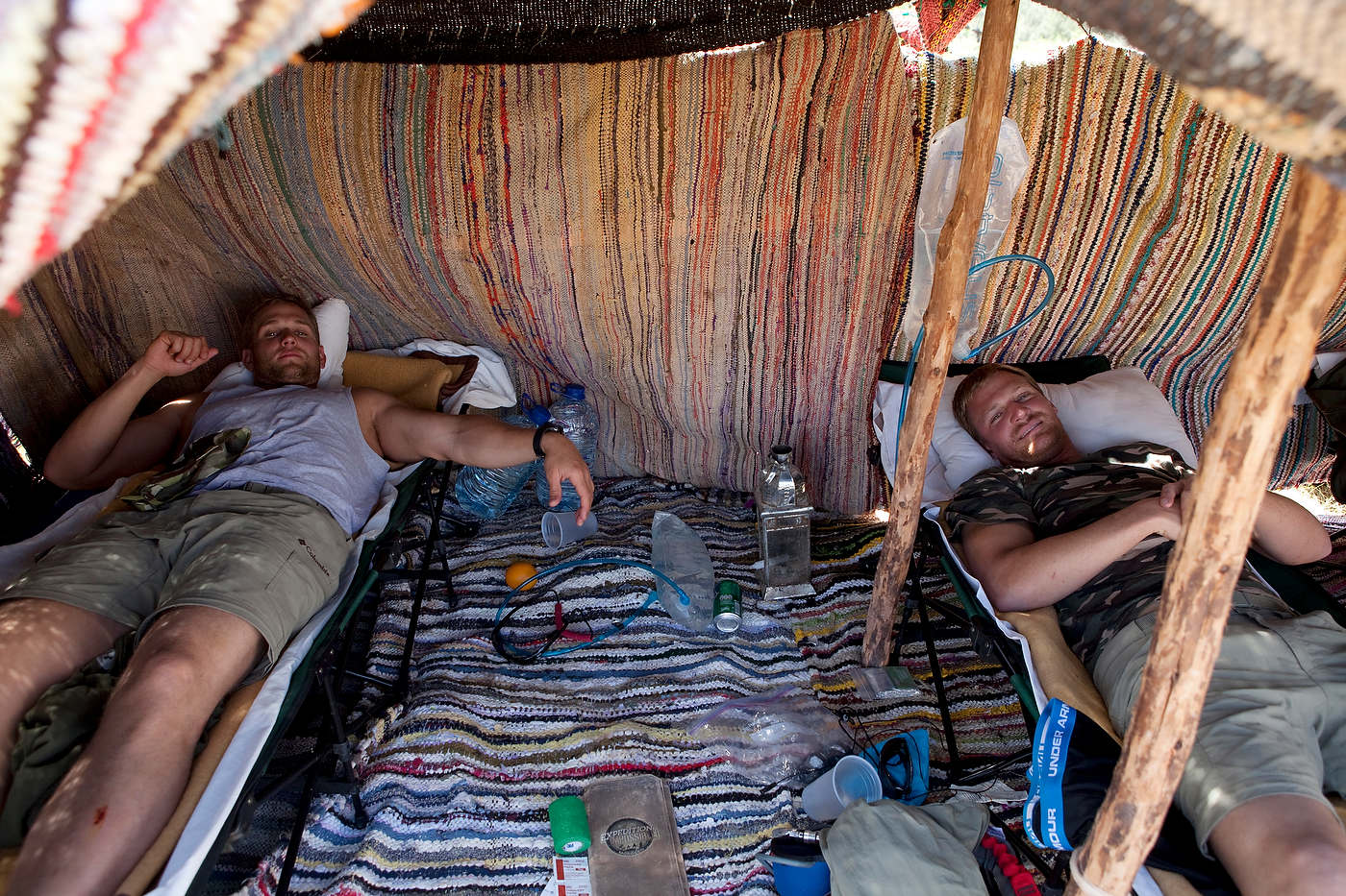 Team Country Boys relaxes in an overnight camp.