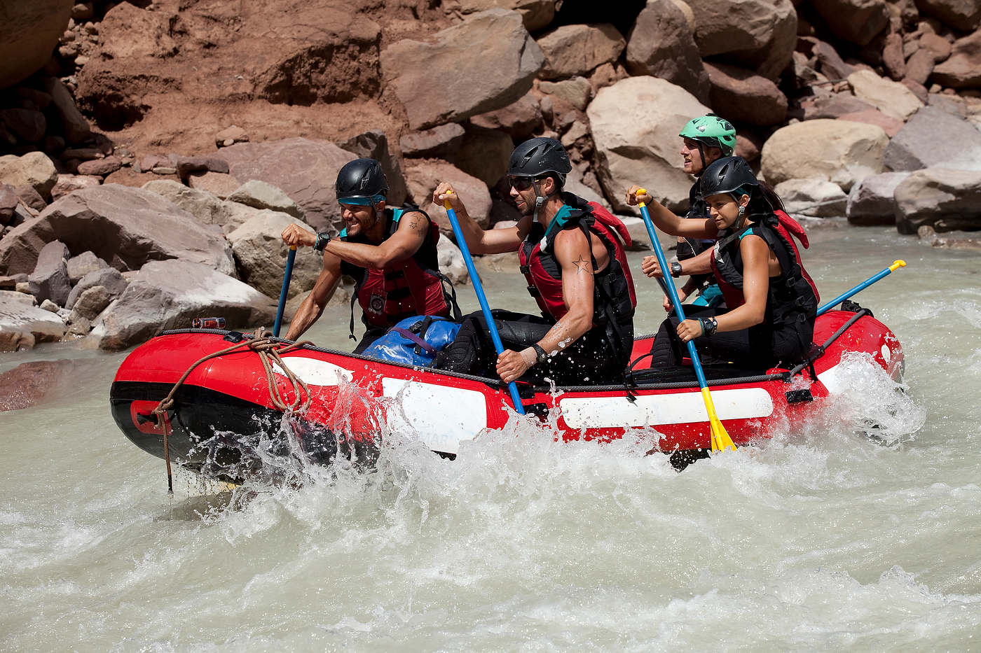 Team Fab 3 on the rafting stage.