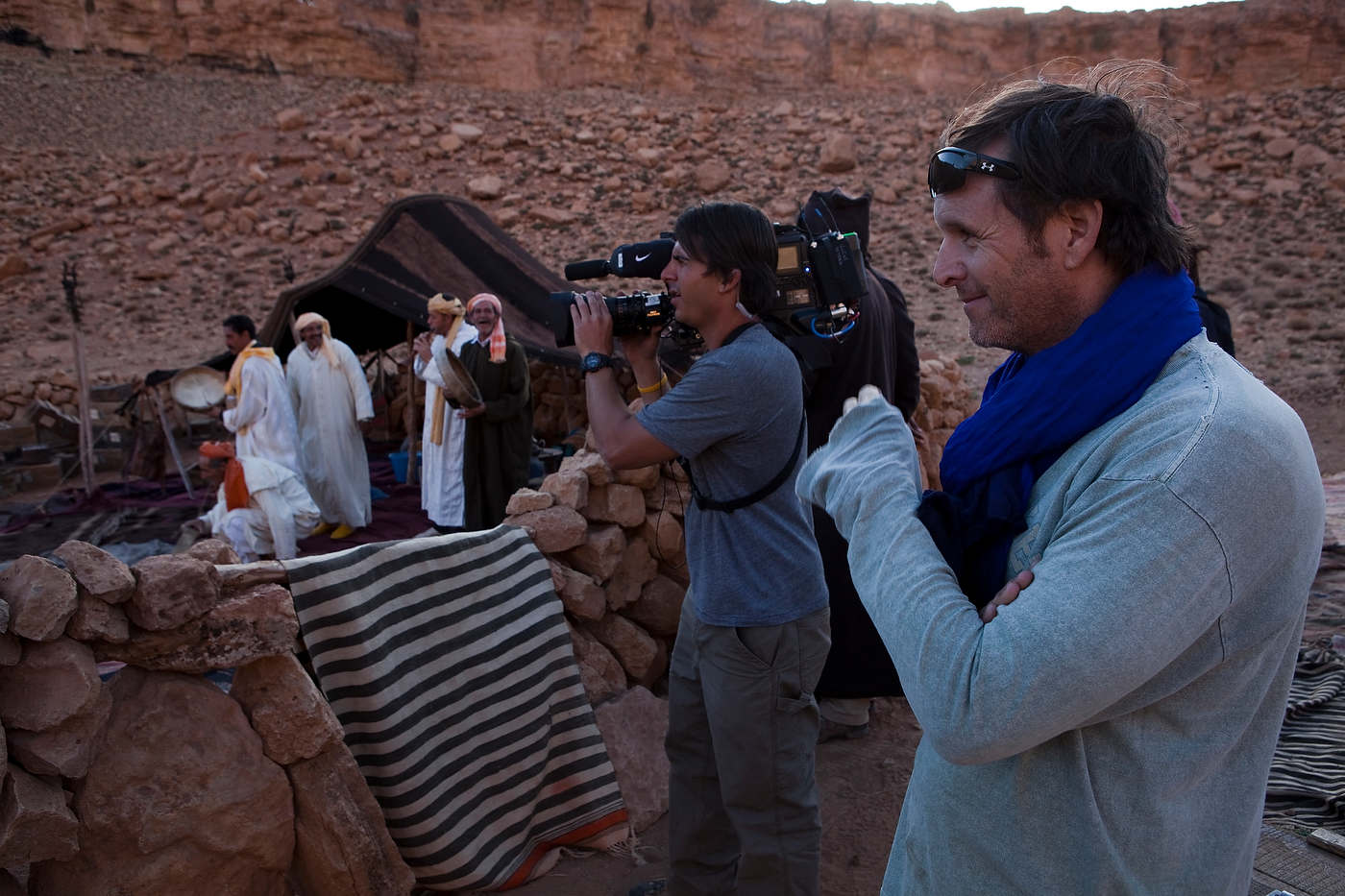 Mark Burnett observes filming in the Dades Gorges.