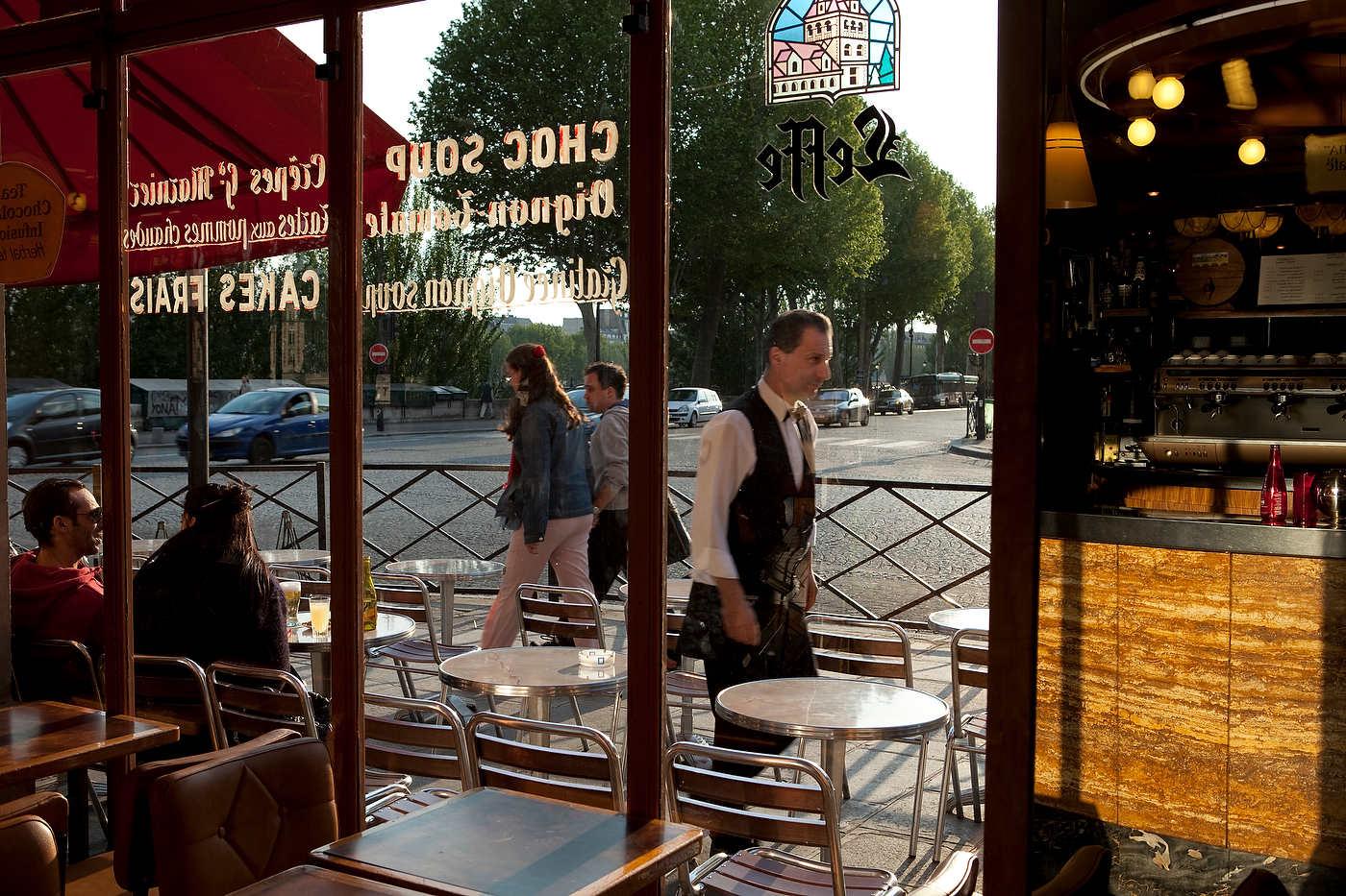 Café, near the Seine bank, Paris.