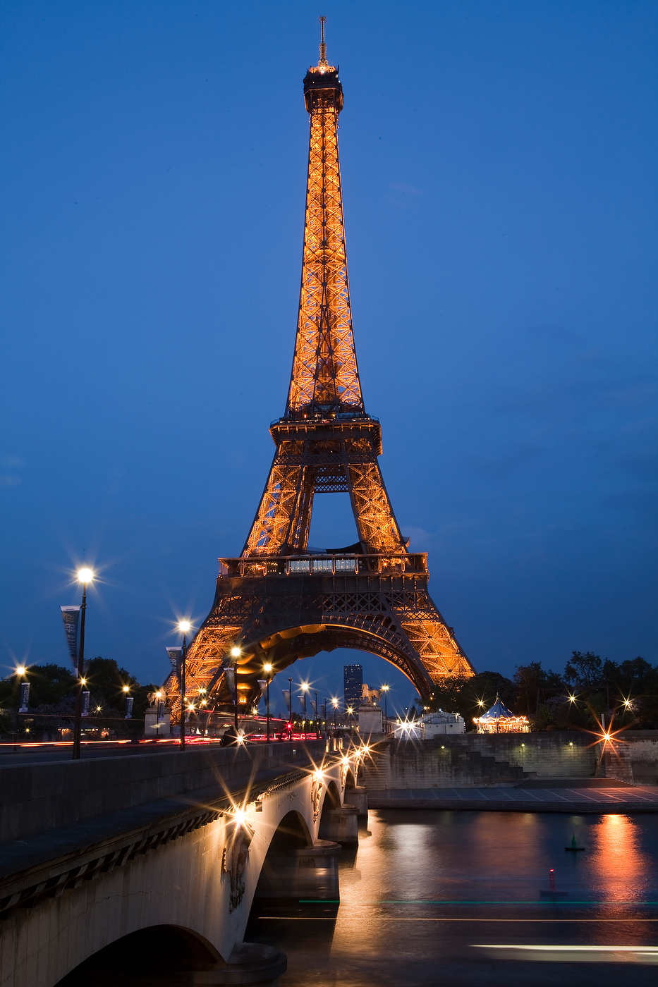 Eiffel Tower, at dusk.