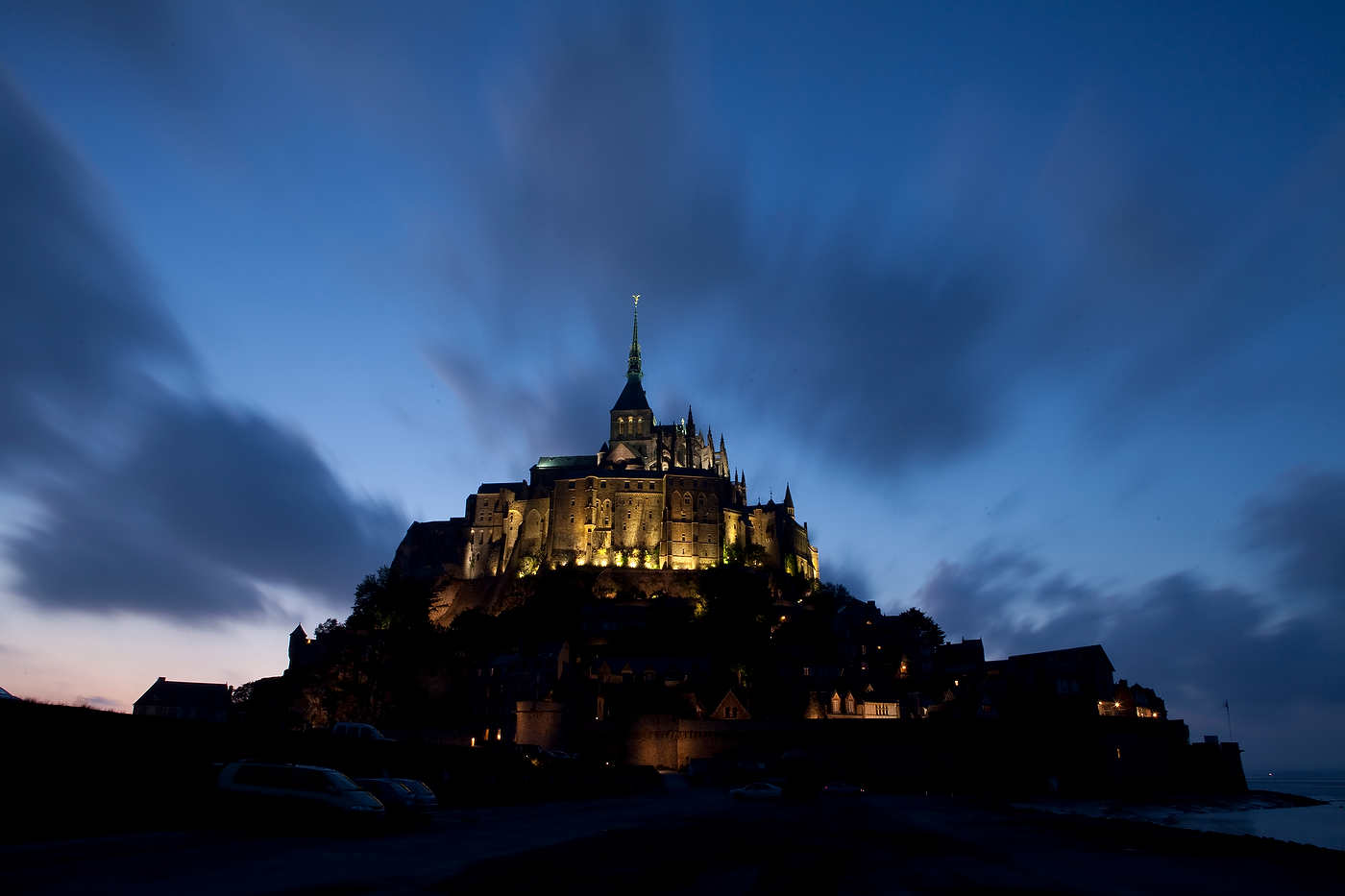 Mont-Saint-Michel at dusk, Normandy.