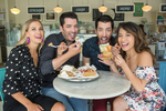Drew Scott and Linda Phan, right, with brother Jonathan Scott and his girlfriend Jacinta Kuznetsov, have some fun at their wedding cake tasting at Magnolia Bakery, as seen on Property Brothers at Home: Drew's Honeymoon House.