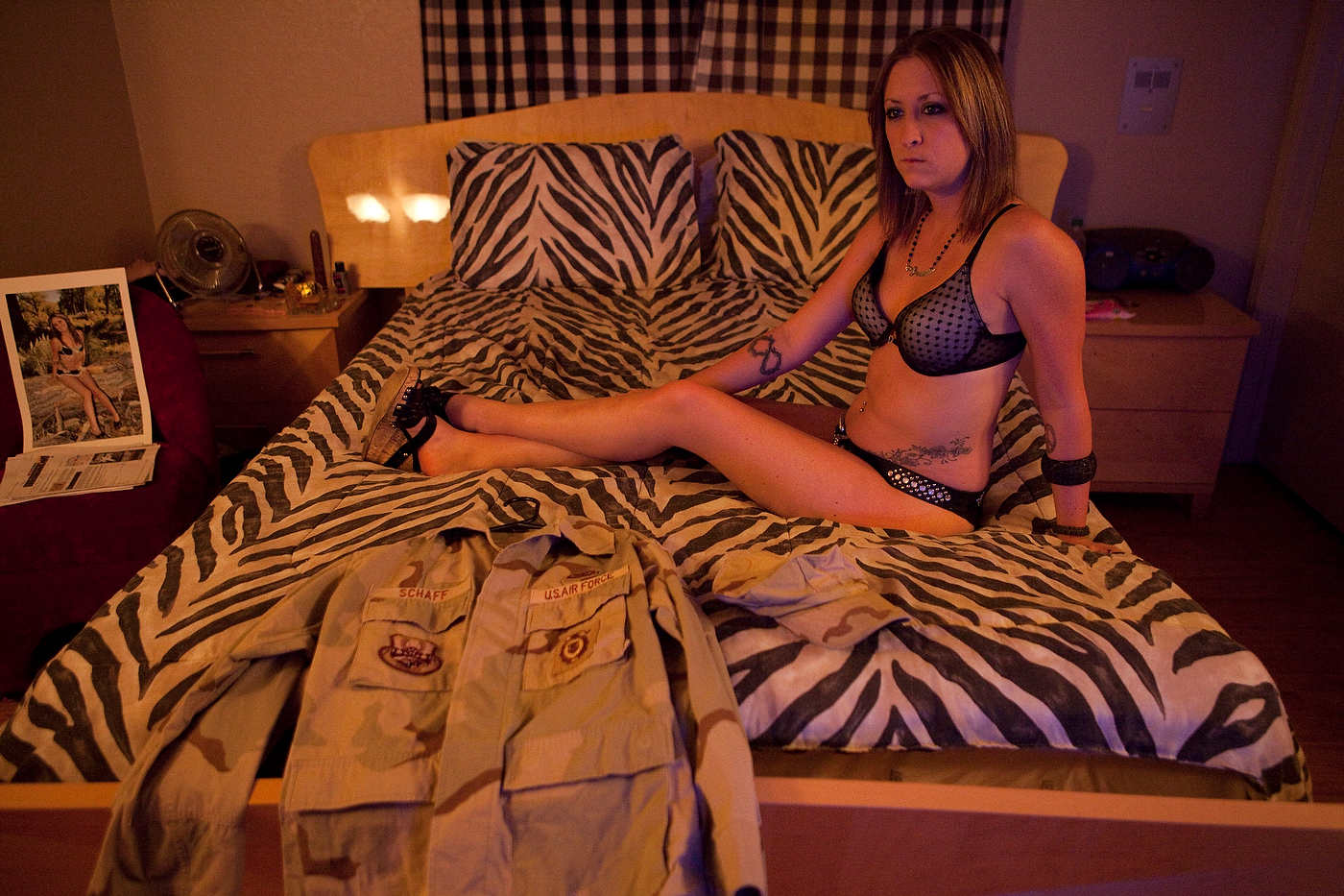 Iraq veteran Air Force Amber waits for a client at the Love Ranch.