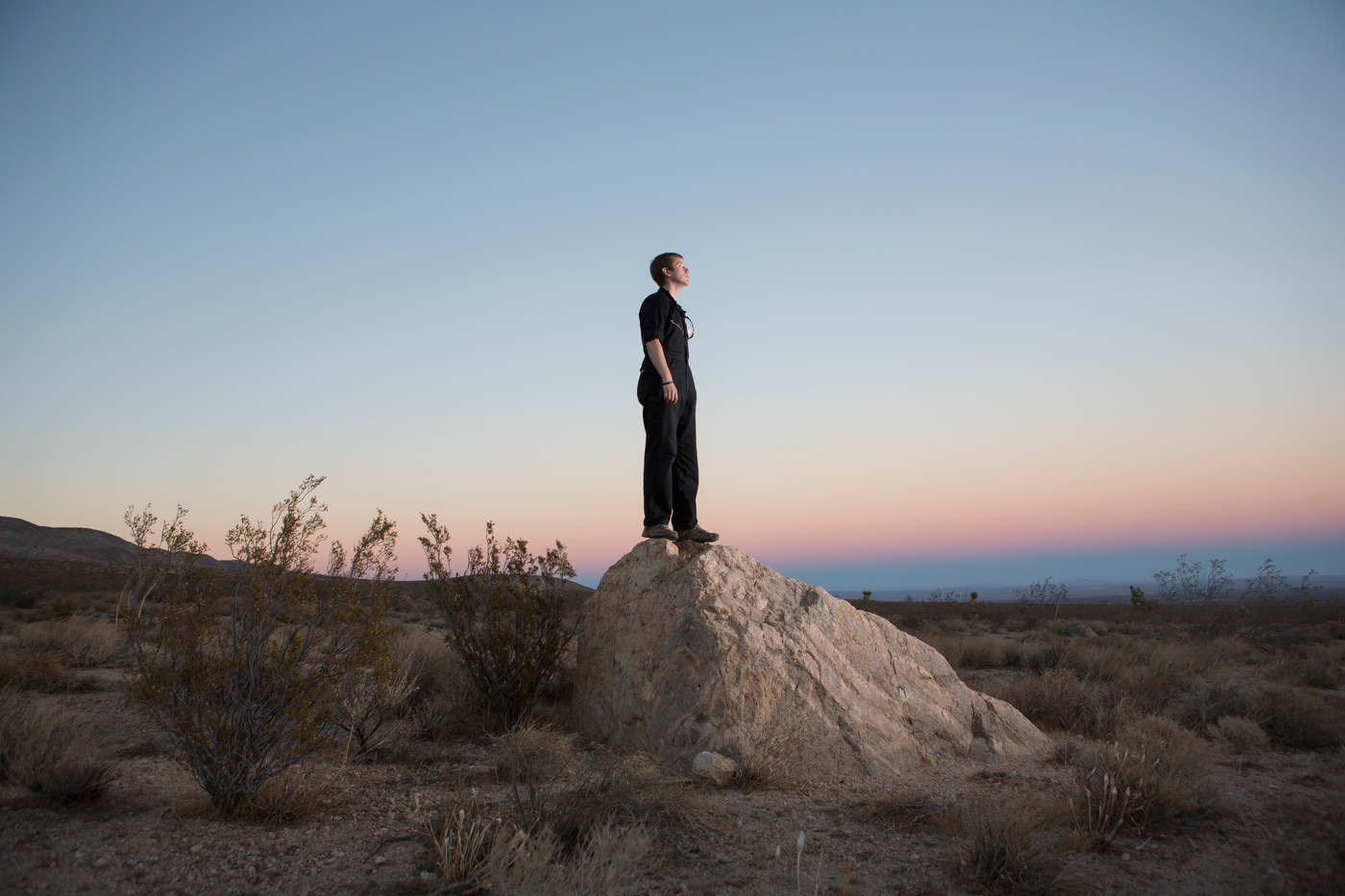 Sylvain Budot, engineer and Voyage to Mars candidate, in the Mojave Desert, for Le Nouvel Observateur.