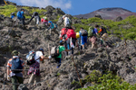 Hikers on the Yoshida trail, Mount Fuji's most popular route.