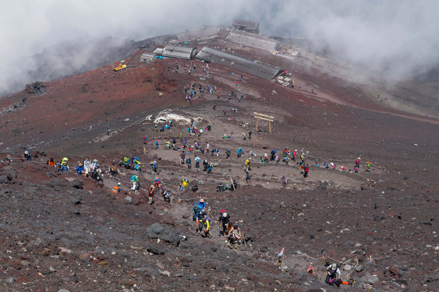 Hikers on the Yoshida trail, a Mount Fuji's most popular route.